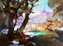 Drawn fantasy landscape with castle and trees. Sketch fantasy landscape with castle and trees vector illustration