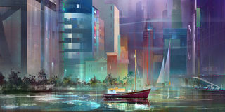 Drawn fantasy landscape of the future city. Art fantasy landscape future city ship Stock Photography