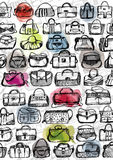 Drawn Fashion Bags Stock Photography