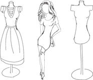 Drawn fashion girl with dress form. On white. Vector illustration stock illustration