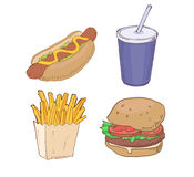 Drawn Fast Food Royalty Free Stock Photography
