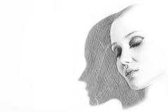 Drawn female portrait Stock Photos