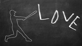 Drawn figure of Baseball player hitting a word Love.  Stock Images