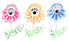 Drawn flowers Royalty Free Stock Photo