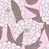 Drawn Flowers Seamless Pattern_eps. Illustration of hand drawn flowers and leaves seamless pattern on pink background Stock Photography