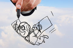 Drawn flying businessman Stock Images