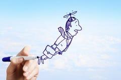 Drawn flying businessman Royalty Free Stock Image