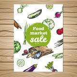 Drawn Food Market Sale Flyer Stock Images