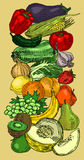 Drawn Fruits And Vegetables Royalty Free Stock Photo