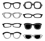 Drawn glasses vector set Stock Images