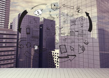 Drawn graphic on cityscape background Royalty Free Stock Photography