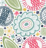 Drawn graphic pattern in rural style. Abstract background with stylized flowers. Royalty Free Stock Images