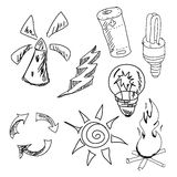 Drawn graphic pictures on white. Vector Stock Photography