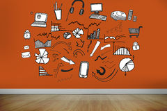 Drawn graphics on orange wall Stock Images