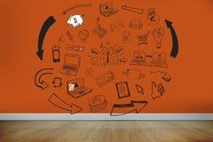 Drawn graphics on orange wall Royalty Free Stock Photos