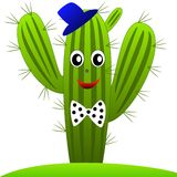 Drawn green cactus with eyes on a white background Stock Photo