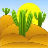 Drawn green cactuses in the desert Royalty Free Stock Image