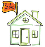 Drawn green house for sale Stock Photos
