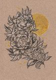 Drawn by hand card, peony flower and sun Stock Images