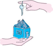 Drawn hands holding house with key Stock Image