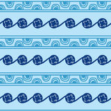 Drawn hands symbols and signs in the form of semicircles, lines and patterns in blue. Ukrainian Trypillia national Stock Photography