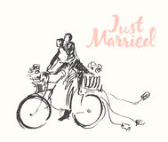 Drawn happy bride groom bicycle vector sketch Royalty Free Stock Photography