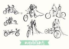 Drawn happy bride groom bicycle vector sketch Royalty Free Stock Photography
