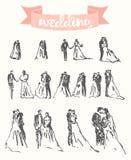 Drawn happy bride groom vector illustration sketch Stock Photography