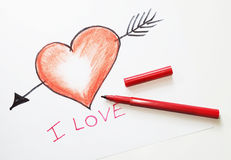 Drawn heart Stock Photography