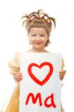 Drawn heart in baby hands. Valentine`s day concept Royalty Free Stock Photos