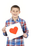 Drawn heart in boy hands Royalty Free Stock Photo