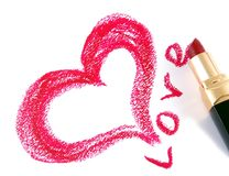Drawn heart and lipstick Stock Photo