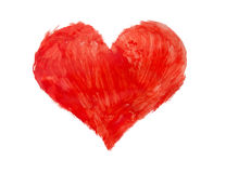 Drawn heart. Red heart drawn with a brush Royalty Free Stock Photo