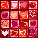 Drawn hearts background Stock Image