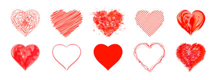 The drawn  hearts  for  Mother`s Day, Valentine`s Day or weddings. Decoration Royalty Free Stock Photos