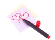 A drawn hearts with red marker Royalty Free Stock Images