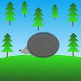 Drawn hedgehog on a green lawn Royalty Free Stock Photos