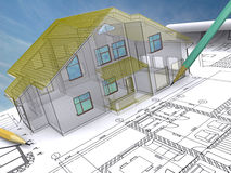 Drawn house. Residential house on architect's drawing Stock Photo