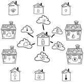 Drawn house with clouds and lock. Vector Royalty Free Stock Photography