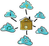 Drawn house with clouds. Vector illustration Stock Photos