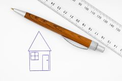 Drawn house on paper Stock Photo