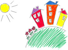 The drawn houses. Bright children's drawing of small houses on a green lawn under the sun Stock Images
