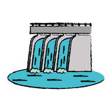 Drawn hydroelectric station plant water dam. Vector illustration eps 10 Royalty Free Stock Photography