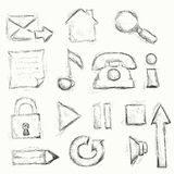 Drawn icon set Stock Photography