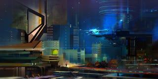 Drawn illustration of cyberpunk future. Art illustration of cyberpunk future Stock Photography