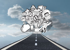 Drawn illustration on sky background with road Royalty Free Stock Photography