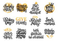 Drawn illustrations for Thanksgiving day. Pumpkin Patch, Turkey Day, Fall Yall etc., vector handwritten calligraphy set. stock illustration