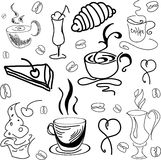 Drawn image with coffee drinks and pastry. Vector Royalty Free Stock Images