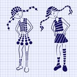 Drawn ink girl on the notebook sheet Royalty Free Stock Photography