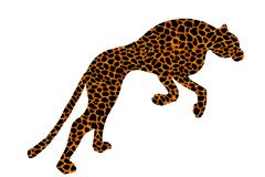 Drawn jaguar, leopard, wild cat, panther coloured silhouette stock illustration